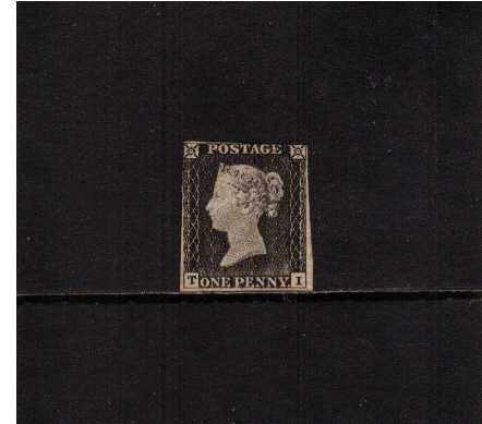 view larger image for SG 2 (1840) - 1d Black from Plate 1a lettered 'T-I'<br/>A lightly mounted mint stamp with large part original gum slightly cut into top right. Amazing proof like impression!<br/>SG Cat �18,500