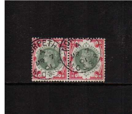 view larger image for SG 214 (1900) - 1/- Green and Carmine a stunning fine used pair cancelled with two crisp railway CDS's for MORPETH M.O.&S.B. dated MR 7 01. A gem pair!