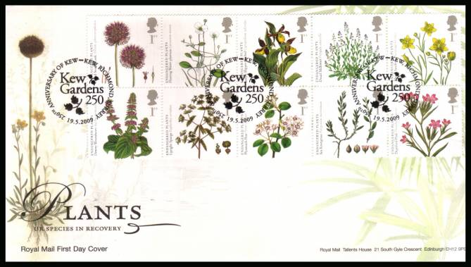 view larger back view image for Plants block of ten on an unaddressed official Royal Mail FDC cancelled with three strikes of the 
