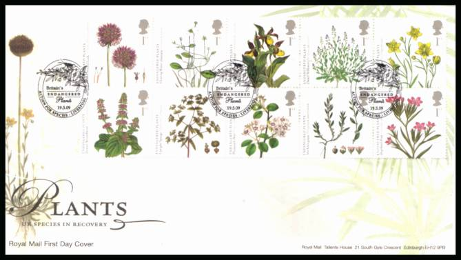 view larger back view image for Plants block of ten on an unaddressed official Royal Mail FDC cancelled with three strikes of the  ACTION FOR SPECIES BRITAIN'S ENDANGERED PLANTS - LIVERPOOL