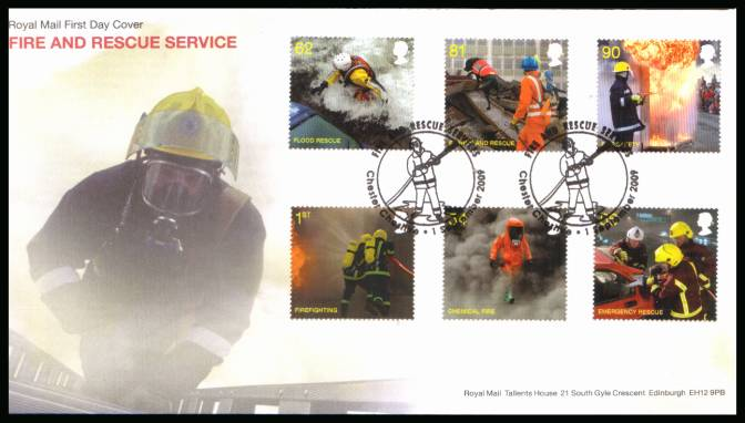 view larger back view image for Fire and Rescue set of six on an unaddressed official Royal Mail FDC cancelled with two strikes of the 