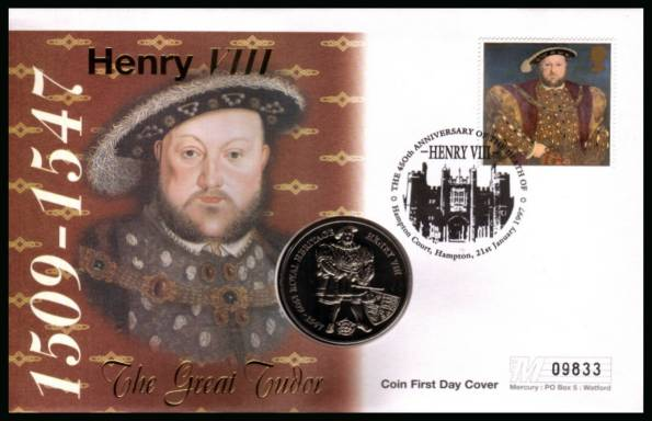 view larger back view image for 450th Anniversary of Henry VIII Mercury Coin First Day cover containing the �2 Falkland Islands commomemorative coin cancelled Hampton Court, Hampton 21 January 1997,