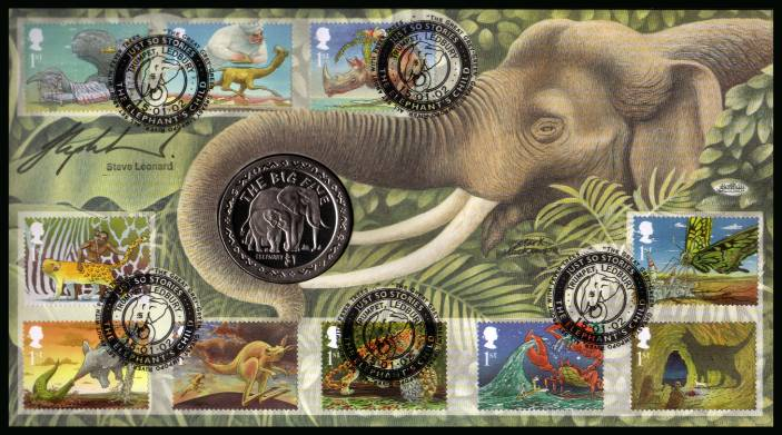 view larger back view image for Rudyard Kipling - Just So Stories set of ten canvelled with TRUMPET - LEDBURY handstamp dated 15-01.12 with a SIERRA LEONE Elephant coin. Autographed by vet STEVE LEONARD. With BENHAM guarantee certificate - only 4000 produced.