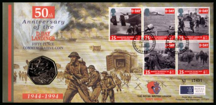 view larger back view image for ROYAL MINT  - 50th Anniversary of D-DAY LANDINGS set of five FDC cancelled HMS DRYAD - PORTSMOUTH dated 6 JUNE 1994 containing an uncirculated D-Day 50p coin.