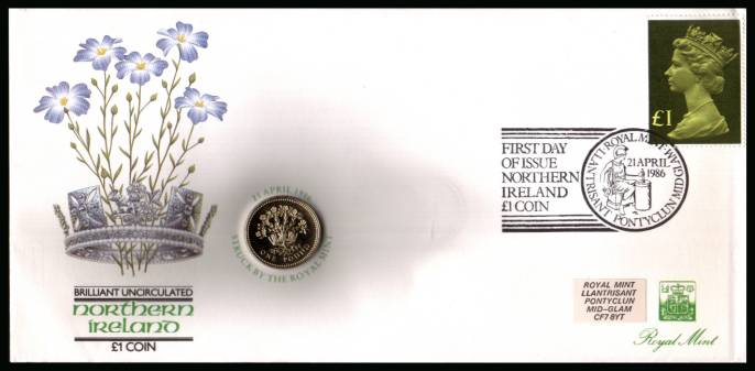 view larger back view image for ROYAL MINT - Coin Cover containing a BRILLIANT UNCIRCULATED �1 coin for NORTHERN IRELAND dated 1986 cancelled ROYAL MINT dated 21 APRIL 1986 bearing a �1 stamp. NOTE: Grey area is due to scanning limitations and coin thickness.