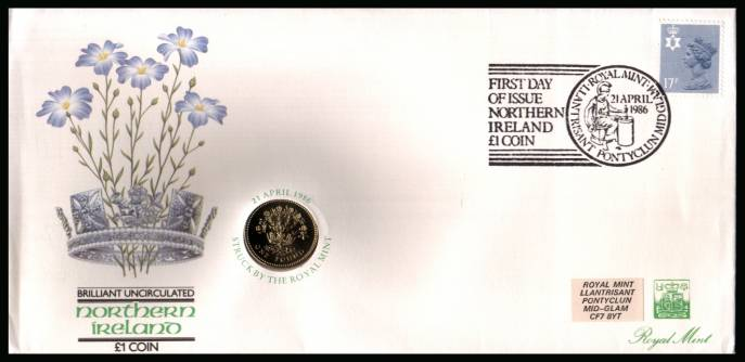 view larger back view image for ROYAL MINT - Coin Cover containing a BRILLIANT UNCIRCULATED �1 coin for NORTHERN IRELAND dated 1986 cancelled ROYAL MINT dated 21 APRIL 1986 bearing a 17p stamp. NOTE: Grey area is due to scanning limitations and coin thickness.