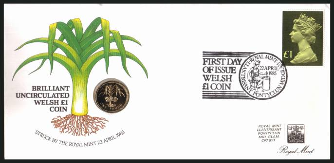 view larger back view image for ROYAL MINT - Coin Cover containing a BRILLIANT UNCIRCULATED �1 coin for WALES dated 1985 cancelled ROYAL MINT dated 22 APRIL 1985 bearing a �1 stamp. NOTE: Grey area is due to scanning limitations and coin thickness.