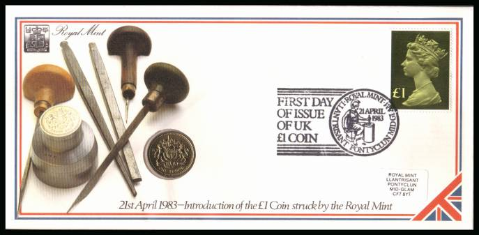 view larger back view image for ROYAL MINT - Coin Cover containing a BRILLIANT UNCIRCULATED �1 coin for UK dated 1983 cancelled ROYAL MINT dated 21 APRIL 1983 bearing a �1 stamp. NOTE: Grey area is due to scanning limitations and coin thickness.