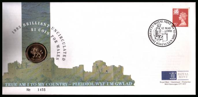 view larger back view image for ROYAL MINT - Coin Cover containing a BRILLIANT UNCIRCULATED �1 coin for WALES dated 1995 cancelled ROYAL MINT dated 12 MAY 1995 bearing a 25p stamp. NOTE: Grey area is due to scanning limitations and coin thickness.