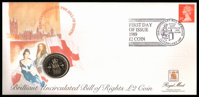 view larger back view image for ROYAL MINT - Coin Cover containing a BRILLIANT UNCIRCULATED �2 coin for BILL OF RIGHTS dated 1989 cancelled ROYAL MINT dated 14 FEBRUARY 1989 bearing a 19p stamp. NOTE: Grey area is due to scanning limitations and coin thickness.