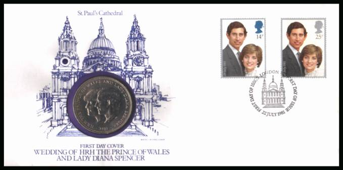 view larger back view image for Charles - Diana Royal Wedding FDC cancelled LONDON EC St Pauls cancel dated 22 JULY 1981 containing the Royal Wedding crown.