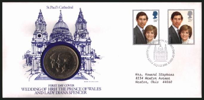view larger back view image for Charles - Diana Royal Wedding FDC - typed address - cancelled LONDON EC St Pauls cancel dated 22 JULY 1981 containing the Royal Wedding crown.