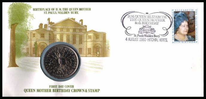 view larger back view image for 80th Birthday of The Queen Mother FDC - UNADDRESSED - produced by Sumner Collection containing the special crown issued for the birthday. A rare 'early' coin cover seldom seen.
