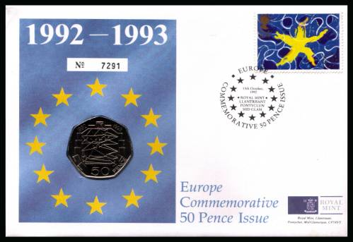 view larger back view image for ROYAL MINT 24p European Market single on a coin FDC cancelled with a special handstamp dated 13 October 1992 containing a 50p Europae coin.