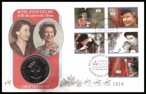 view larger back view image for 40th Anniversary of Accession set of five on a Mercury FDC cancelled BUCKINGHAM PALACE - LONDON SW1 6th February 1992 containing a �2 Alderney coin
