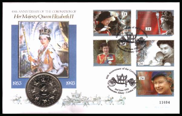 view larger back view image for 40th Anniversary of Accession set of five on a Mercury FDC cancelled WESTMINSTER ABBEY - LONDON SW1  2nd June  1993 containing a �5 Coronation coin