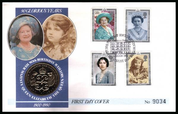 view larger back view image for Queen Mother set of four on a Mercury FDC cancelled CLARENCE HOUSE - LONDON SW1 dated 2 AUGUST 1990 containing a �5 Queen Mother coin
