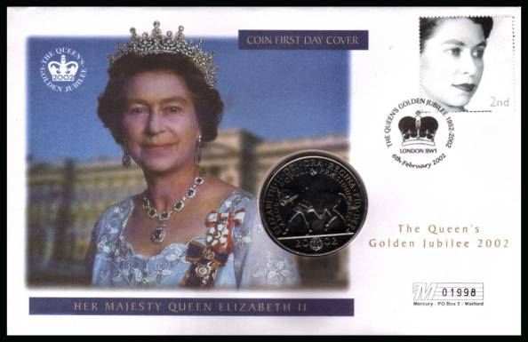 view larger back view image for Queen's Golden Jubilee MERCURY FDC cancelled LONDON SW1 dated 6th February 2002 containing a BRILLIANT UNCIRCULATED Golden Jubilee �5 coin.