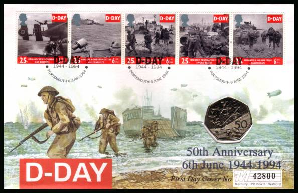 view larger back view image for 50th Anniversary of D-Day set of five on a Mercury FDC cancelled PORTSMOUTH dated 6 JUNE 1994 containing a D-Day uncirculated 50p coin.