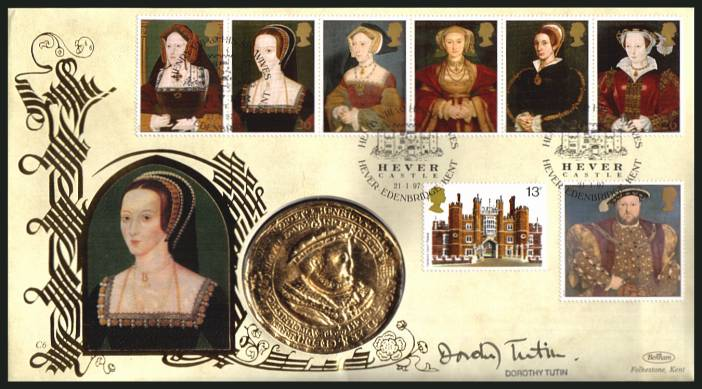 view larger back view image for The Great Tudor - King Henry the 8th set of seven on an unaddressed Benham FDC cancelled