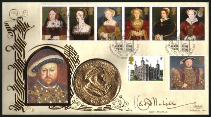 view larger back view image for The Great Tudor - King Henry the 8th set of seven on an unaddressed Benham FDC cancelled TOWER OF LONDON - LONDON EC3 dated 21-1-97 and containing a large 'gold' medallion. Autographed by actor KEITH MICHELL who played the king on BBC TV.