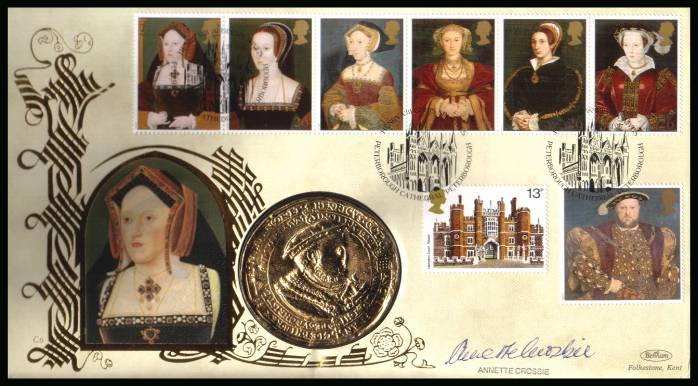 view larger back view image for The Great Tudor - King Henry the 8th set of seven on an unaddressed Benham FDC cancelled HEVER CASTLE - EDENBRIDGE - KENT dated 21-1-97 and containing a large 'gold' medallion. Autographed by actress ANNETTE CROSBY who played Catherine of Aragon on BBC TV