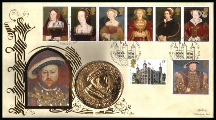 view larger back view image for The Great Tudor - King Henry the 8th set of seven on an unaddressed Benham FDC cancelled TOWER OF LONDON - LONDON EC3  dated 21-1-97 and containing a large 'gold' medallion.