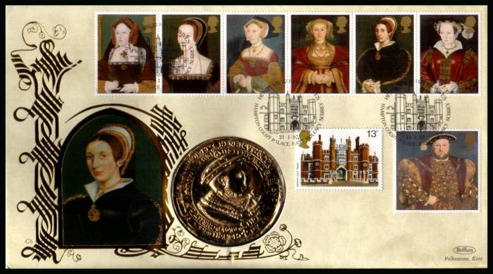 view larger back view image for The Great Tudor - King Henry the 8th set of seven on an unaddressed Benham FDC cancelled HAMPTON COURT PALACE - EAST MOLESEY - SURREY dated 21-1-97 and containing a large 'gold' medallion.