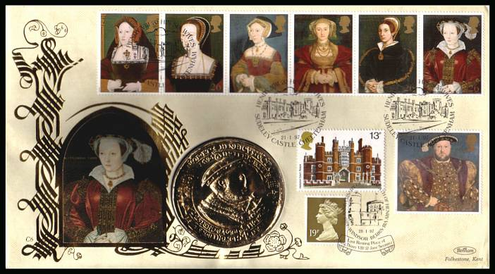 view larger back view image for The Great Tudor - King Henry the 8th set of seven on an unaddressed Benham FDC cancelled SUDELEY CASTLE - CHELTENHAM  dated 21-1-97 and containing a large 'gold' medallion.
