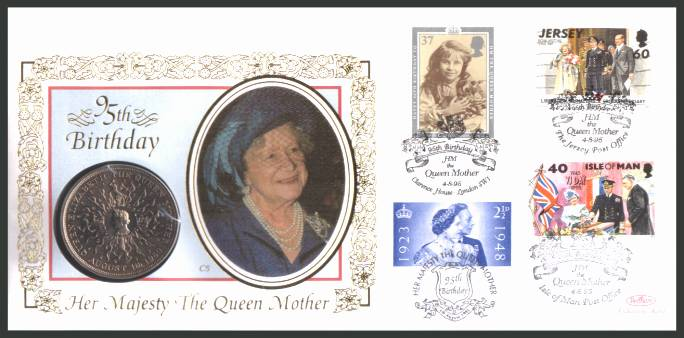 view larger back view image for 95th Anniversary of Queen Mother on a Benham ''silk'' coin cover containing a �5 GB coin bearing a variety of stamps featuring her.