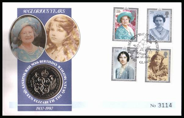 view larger back view image for Queen Mother set of four on a Mercury FDC cancelled GLAMIS - FORFAR  dated 2 AUGUST 1990 containing a �5 Queen Mother coin