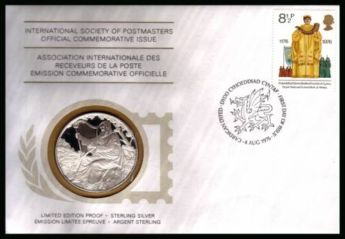 view larger back view image for 	Cultural Traditions 8�p single on a FDC dated 4 AUG 1976 coin cover containing a LIMITED EDITION PROOF - STERLING SILVER medalion.