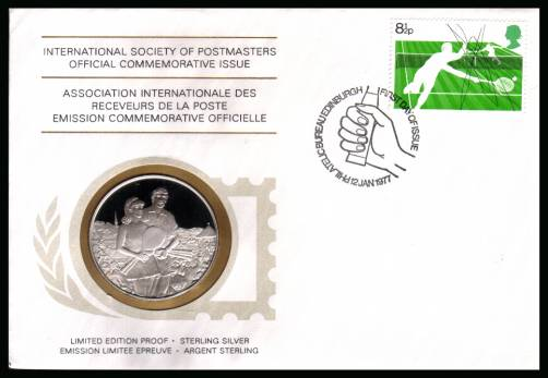 view larger back view image for Racket Sports 8�p single on a FDC dated 12 JAN 1977 coin cover containing a LIMITED EDITION PROOF - STERLING SILVER medalion for WIMBLEDON - LAWN TENNIS CHAMPIONSHIPS.