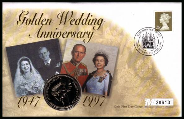 view larger back view image for Golden Wedding Mercury FDC of the Gold 26p Machin cancelled WESTMINSTER ABBEY - LONDON SW1 dated 21 APRIL 1997 containing a brilliant uncirculated Crown.
