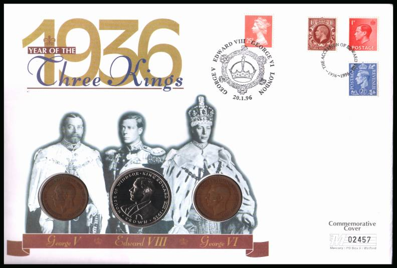 view larger back view image for 1936, The Year of Three Kings Mercury coin cover cancelled LONDON dated 20.1.96 bearing actual stamps from the three kings and three coins. A George 5th and 6th penny and a GIBRALTAR 1993 crown featuring Edward.