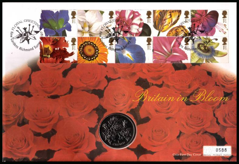 view larger back view image for Greetings Stamps - Flowers booklet pane of ten on a Mercury FDC cancelled KEW GARDENS - RICHMOND - SURREY dated 6.1.97 containing a GIBRALTAR crown featuring Roses and dated 1996.