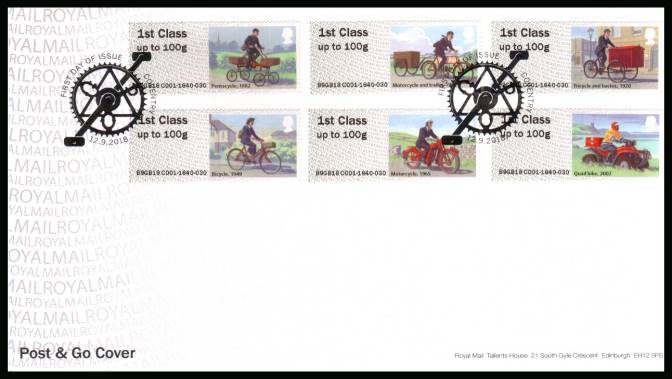view larger back view image for ROYAL MAIL ''POST & GO'' - ROYAL MAIL HERITAGE - MAIL BY BIKE set of six on an unaddressed official Royal Mail FDC cancelled with the official alternative FDI cancel for COVENTRY dated 12.9.2018