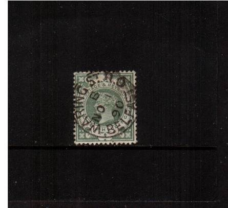 view larger image for SG 211 (1887) - 1/- Green in an amazing deep shade cancelled with a central steel for WARING St. B.O. - BELFAST dated NO 1 90. A truly stunning stamp in this quality.  