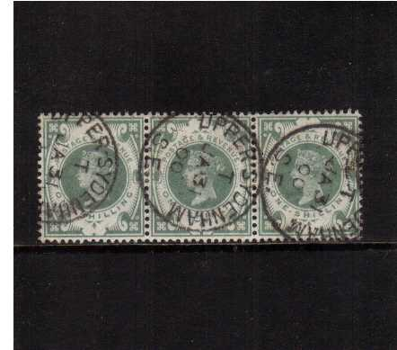 view larger image for SG 211 (1887) - 1/- Green A srunning fine used horizontal strip of three cancelled with three crisp UPPER SYDENHAM CDS's dated JA 31 00. Stunning! SG Cat for singles�180+50%=�270