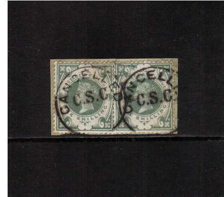 view larger image for SG 211 (1887) - 1/- Green Superb fine used pair on small piece cancelled with two dumb 'C.S.C. CANCELLED' CDS's. A rare cancel so fine.