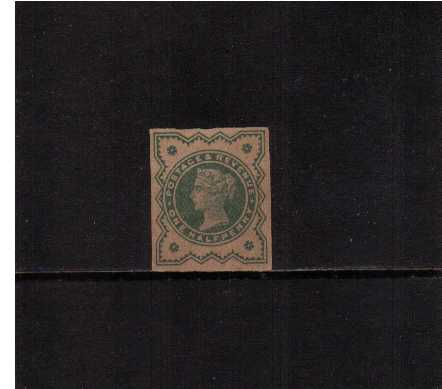 view larger image for SG 213var (1887) - �d Blue-Green Imperforate PLATE PROOF with no gum (as issued) printed on buff paper. SG Cat �80