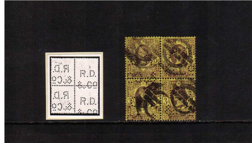 view larger image for SG 203var (1887) - 3d Deep Purple on Yellow. A good used block of four perfined 'R.D. & Co.' This block shows a very unusual variation, the left and right vertical pairs are reversed. Possibly a unique block!