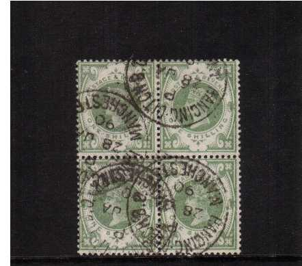 view larger image for SG 211 (1887) - 1/- Green superhn fine used block of four cancelled with four HANGING DITON B. O. MANCHESTER CDS's dated 28 JA 90. Scarce in blocks. SG Cat �300