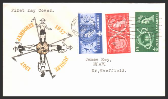 view larger back view image for World Scout Jubilee Jamboree set of three on a typed addressed colour FDC cancelled with a CHESTERFIELD - DERBYSHIRE ''wavy line'' cancel dated 1 AUG 57. The stamps are sideways hence low price!