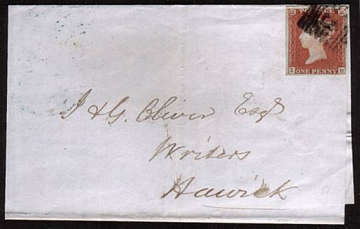 view larger front view of image for 1d Red four margined Imperforate single lettered ''I-H'' on a small neat part entire to HAWICK with cancel well clear of corner letters.<br/><b>XZX</b>