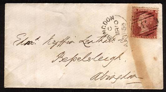 view larger front view of image for 1 Red ''Stars'' - Large Crown - Perf 16 - lettered ''I-H-'' on a small, neat envelope cancelled with an ABINGDON ''sideways duplex'' cancel dated MR 10 53  SG 26 Cat on cover �240<br/><b>XZX</b>