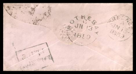 view larger back view of image for 1d Red ''Stars'' lettered ''S-B'' on a small neat complete envelope cancelled with  POSTED AFTER 7 EDINBURGH handstamp cancelled JN 12 59<br/><b>XZX</b>