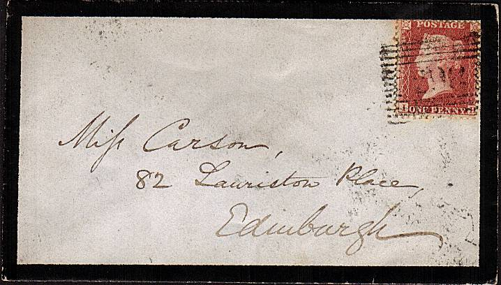 view larger front view of image for 1d Red lettered ''Stars'' lettered ''I-H'' on a small neat complete envelope cancelled with a ROTHESAY (current population 4850) to EDINBURGH dated AP 12 1858