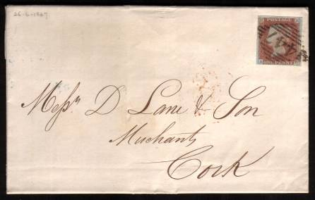 view larger front view of image for 1d Red lettered ''A-D'' on blued paper with four good margins cancelled with an Irish ''447'' for WESTPORT on complete fresh entire to CORK backstamped 26 JU 1847. A stunning cover rare so fresh!<br/><b>XZX</b>
