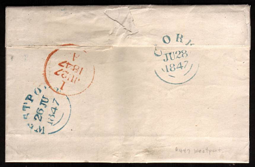 view larger back view of image for 1d Red lettered ''A-D'' on blued paper with four good margins cancelled with an Irish ''447'' for WESTPORT on complete fresh entire to CORK backstamped 26 JU 1847. A stunning cover rare so fresh!<br/><b>XZX</b>